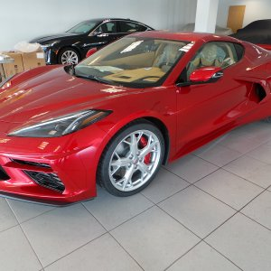 2021 Corvette Coupe in Red Mist and Natural Dipped Interior